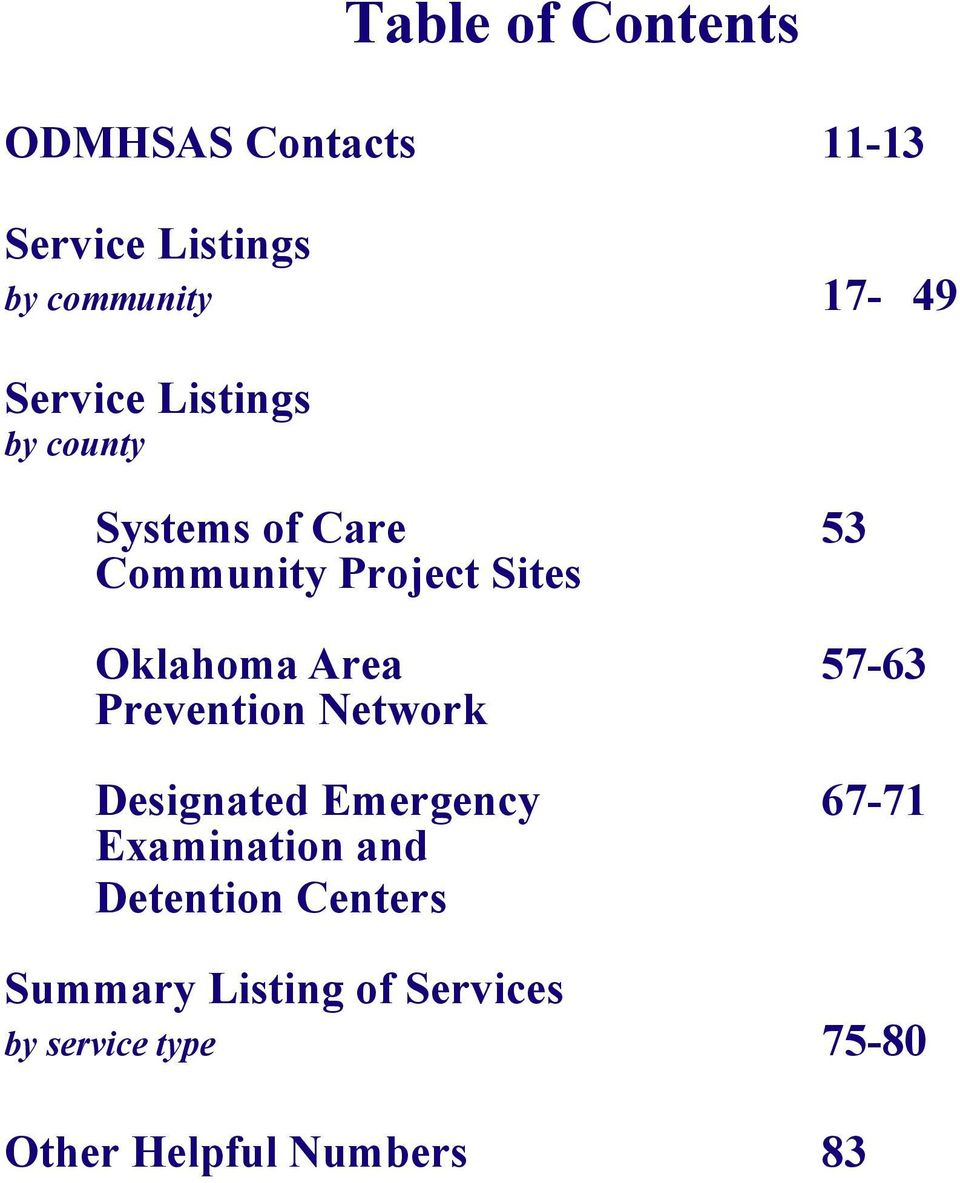 Area 57-63 Prevention Network Designated Emergency 67-71 Examination and