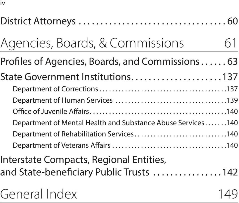 ..139 Office of Juvenile Affairs...140 Department of Mental Health and Substance Abuse Services.