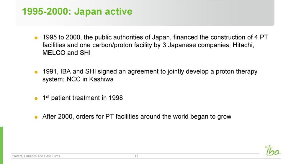 signed an agreement to jointly develop a proton therapy system; NCC in Kashiwa 1 st patient treatment in