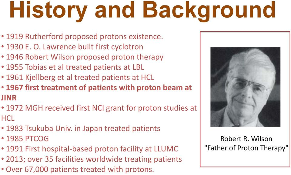 patients at HCL 1967 first treatment of patients with proton beam at JINR 1972 MGH received first NCI grant for proton studies at HCL 1983 Tsukuba
