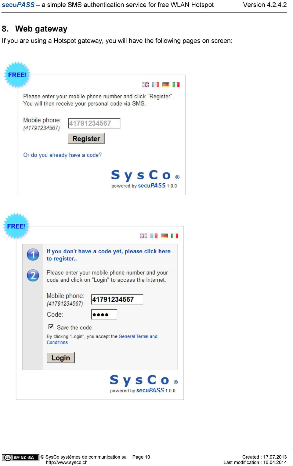 following pages on screen: SysCo