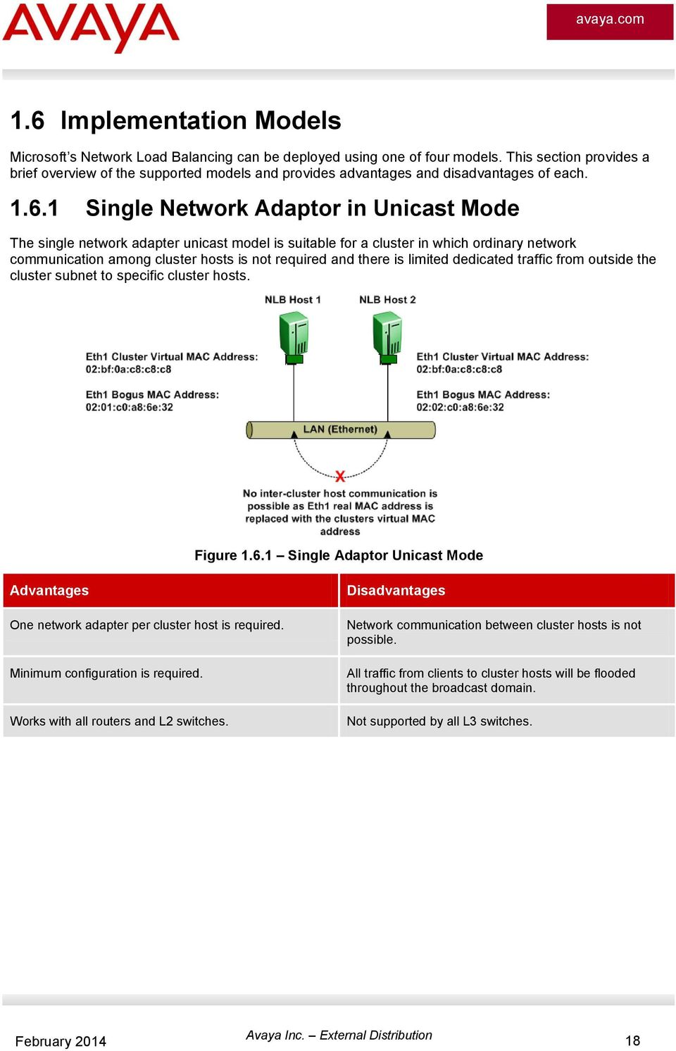 1 Single Network Adaptor in Unicast Mode The single network adapter unicast model is suitable for a cluster in which ordinary network communication among cluster hosts is not required and there is