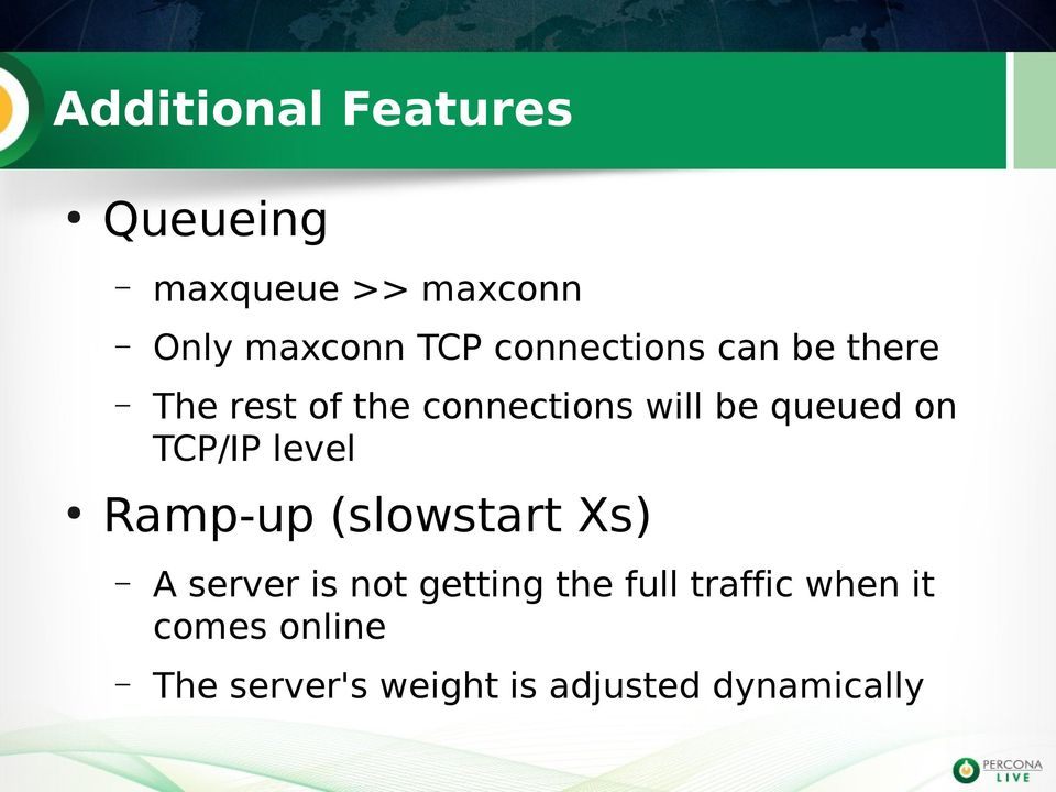 on TCP/IP level Ramp-up (slowstart Xs) A server is not getting the