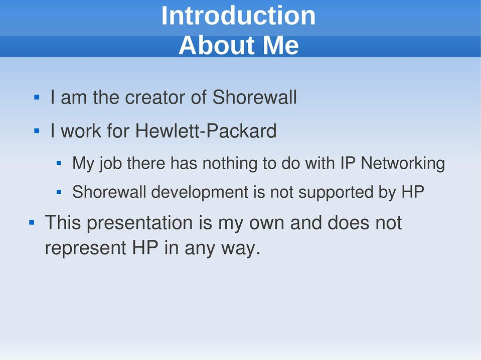 Networking Shorewall development is not supported by HP