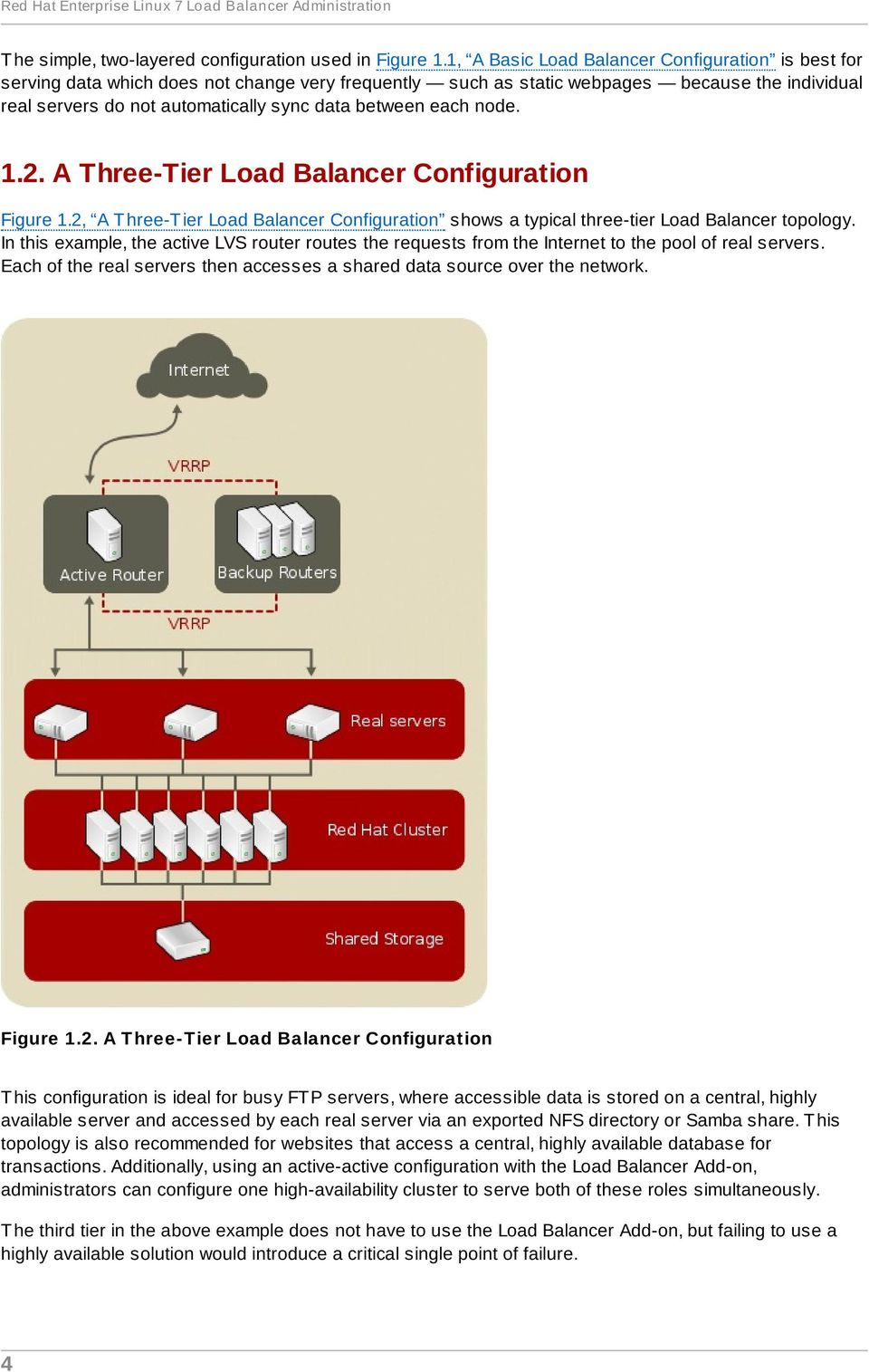 between each node. 1.2. A Three-Tier Load Balancer Configuration Figure 1.2, A T hree-t ier Load Balancer Configuration shows a typical three-tier Load Balancer topology.