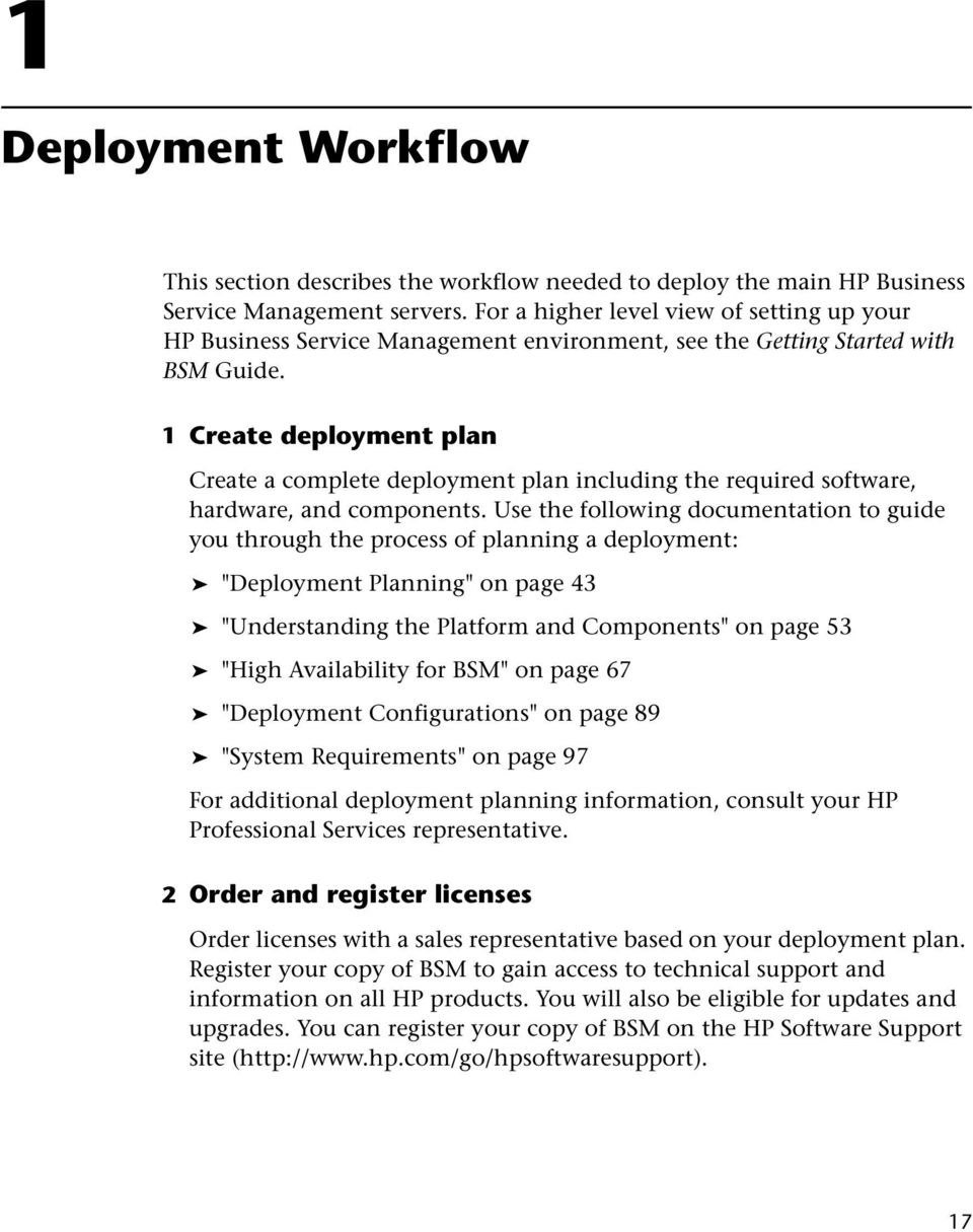 1 Create deployment plan Create a complete deployment plan including the required software, hardware, and components.