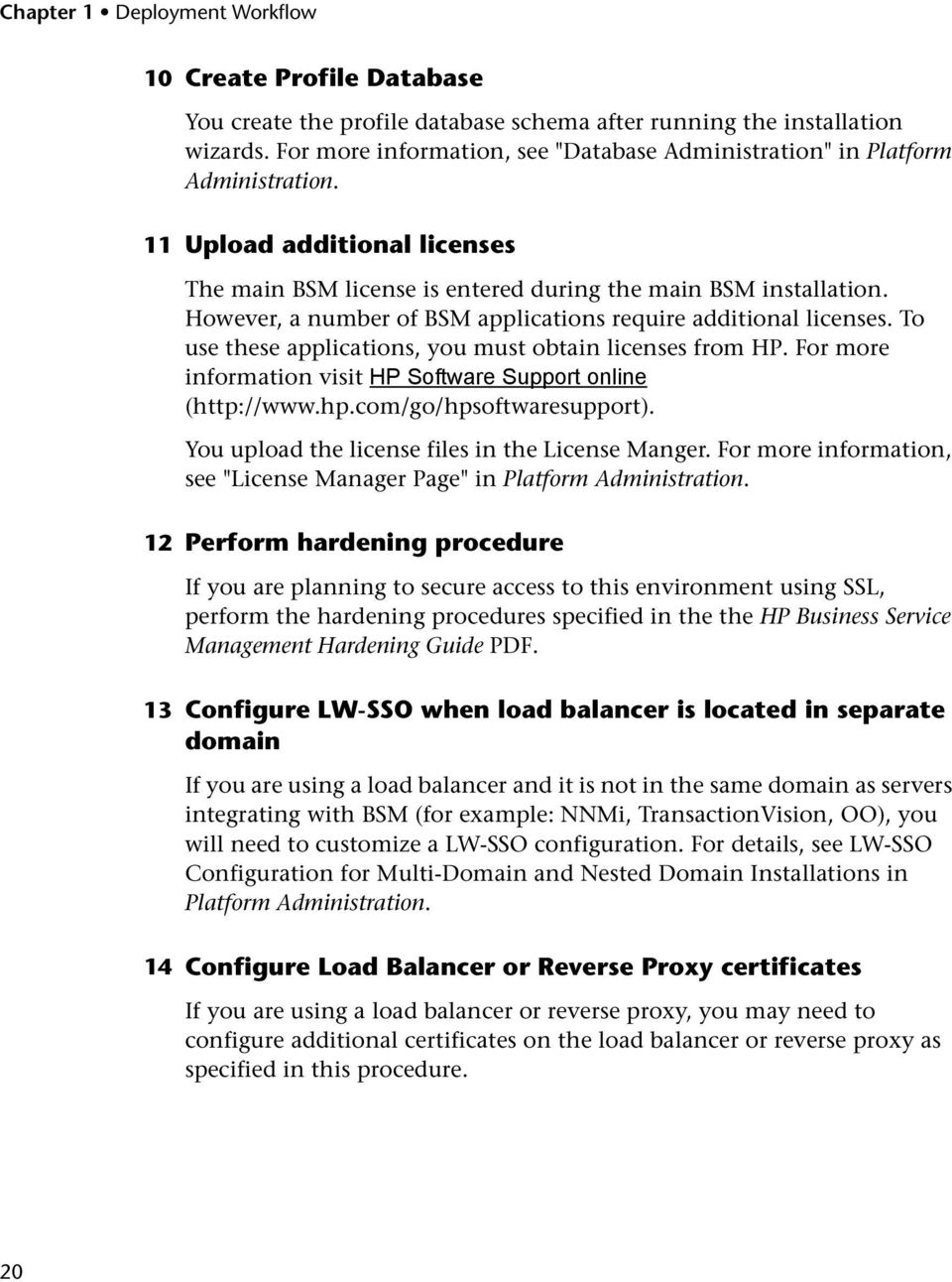 However, a number of BSM applications require additional licenses. To use these applications, you must obtain licenses from HP. For more information visit HP Software Support online (http://www.hp.