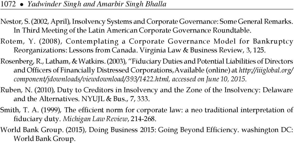 Virginia Law & Business Review, 3, 125. Rosenberg, R., Latham, & Watkins.