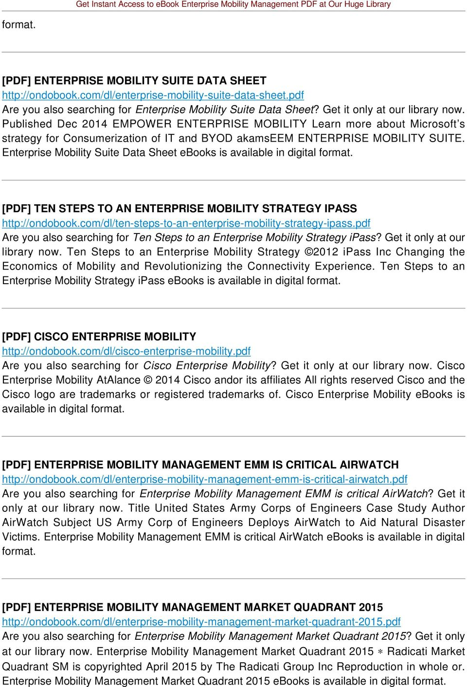 Enterprise Mobility Suite Data Sheet ebooks is available in digital [PDF] TEN STEPS TO AN ENTERPRISE MOBILITY STRATEGY IPASS http://ondobook.com/dl/ten-steps-to-an-enterprise-mobility-strategy-ipass.