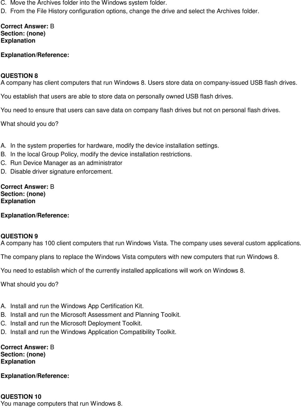 Microsoft exam questions answers pdf you establish that users are able to store data on personally owned usb flash drives 1betcityfo Image collections