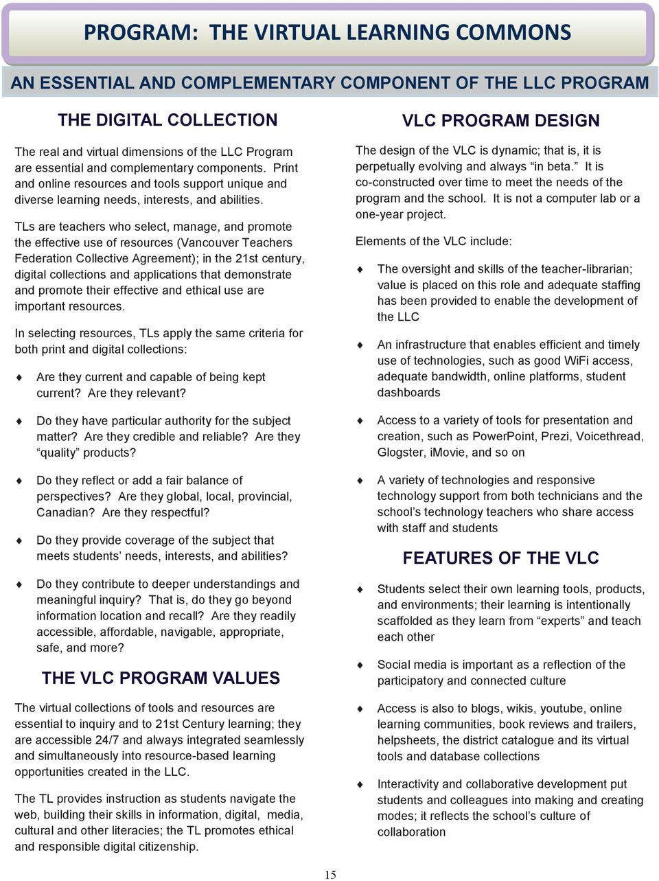 TLs are teachers who select, manage, and promote the effective use of resources (Vancouver Teachers Federation Collective Agreement); in the 21st century, digital collections and applications that