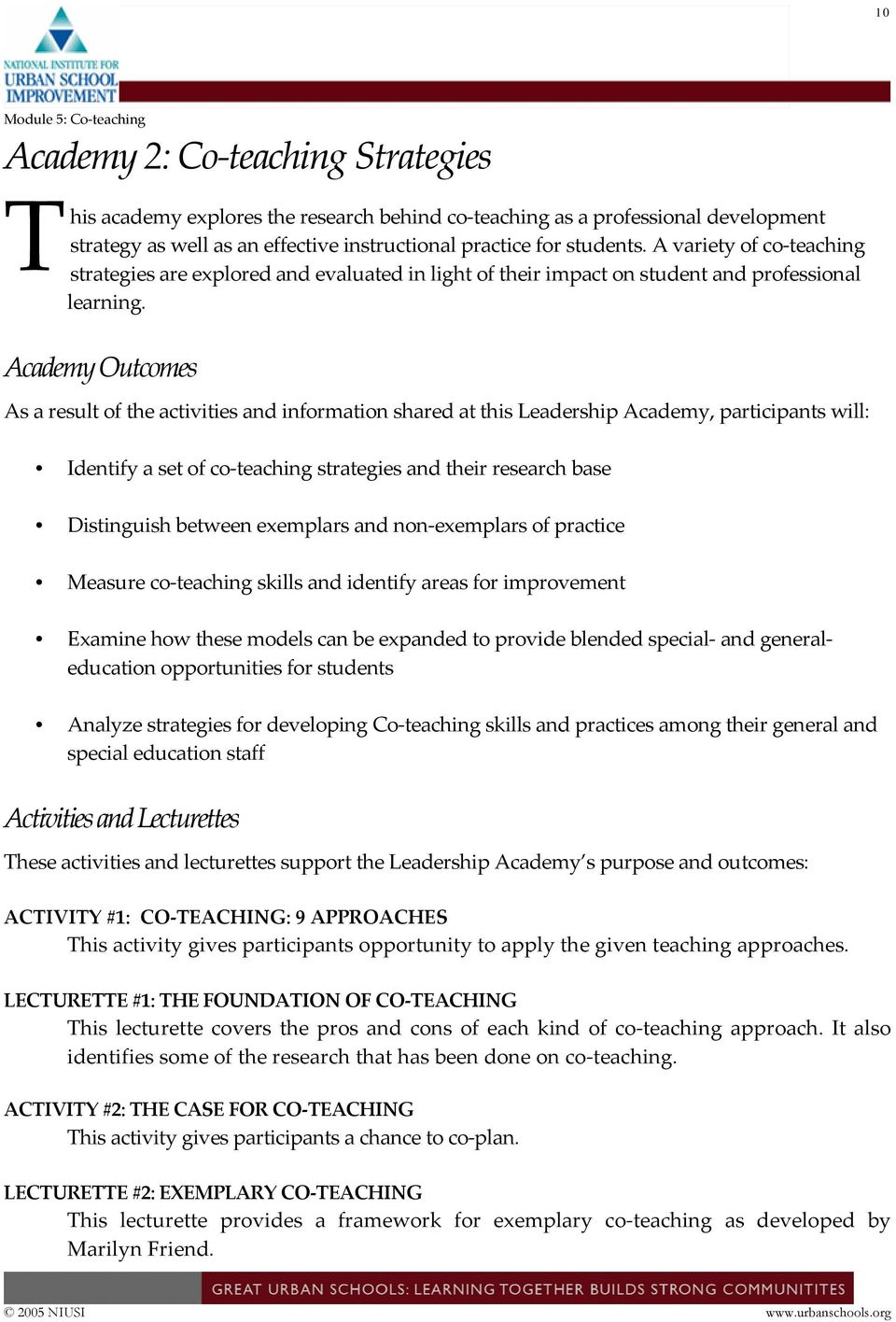 Academy Outcomes As a result of the activities and information shared at this Leadership Academy, participants will: Identify a set of co teaching strategies and their research base Distinguish