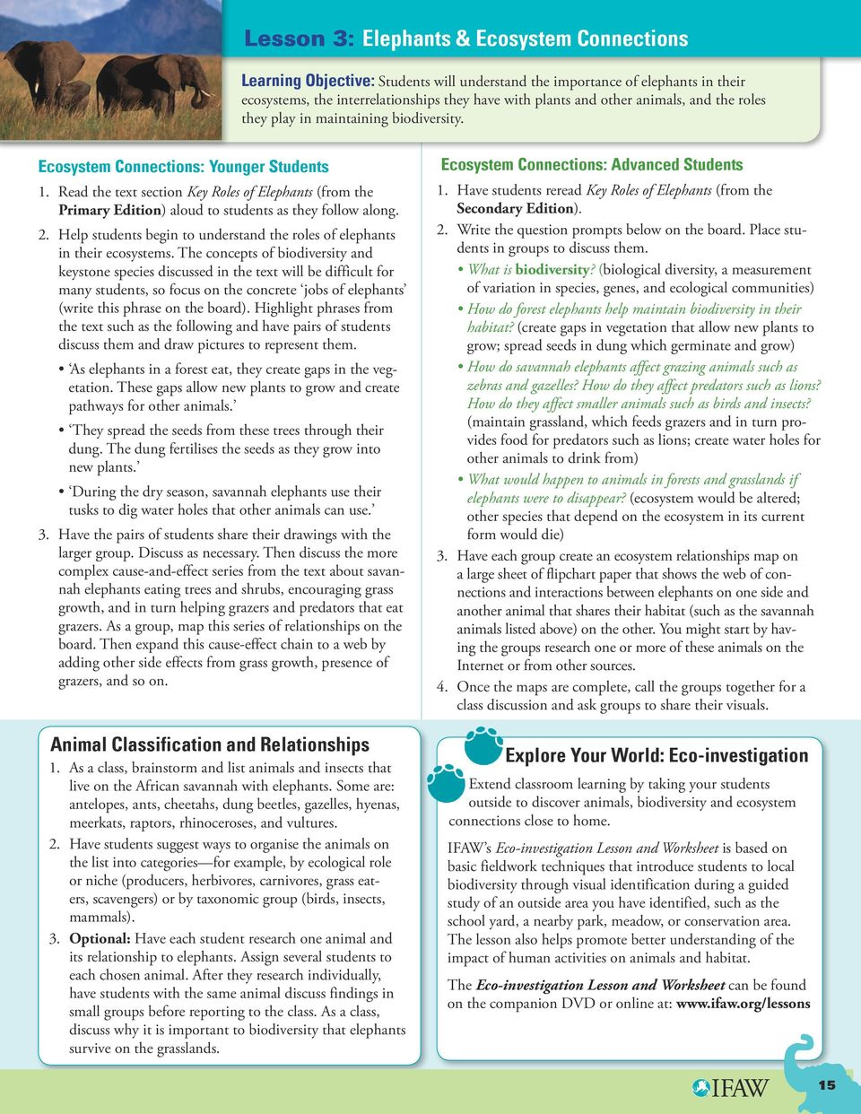 Read the text section Key Roles of Elephants (from the Primary Edition) aloud to students as they follow along. 2. Help students begin to understand the roles of elephants in their ecosystems.