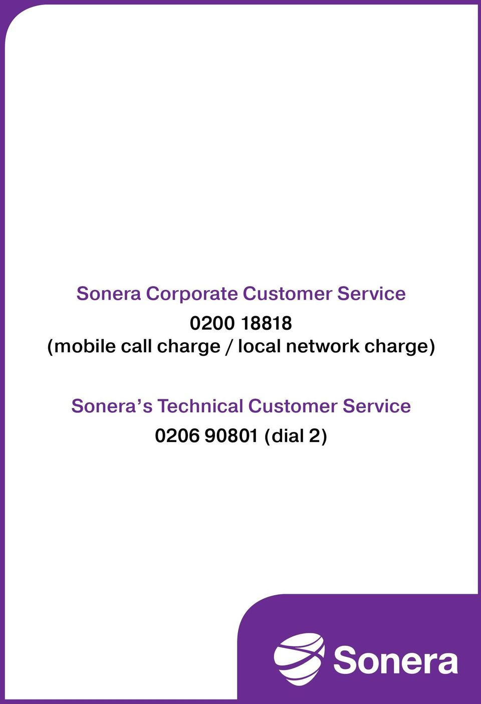 local network charge) Sonera s