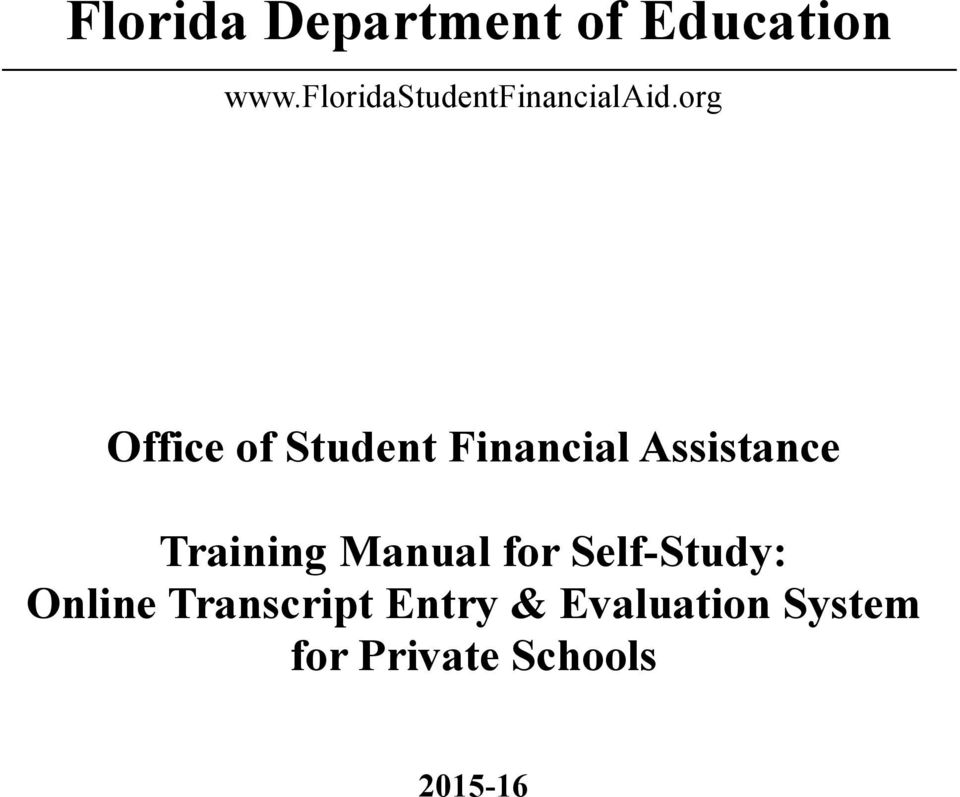 org Office of Student Financial Assistance Training