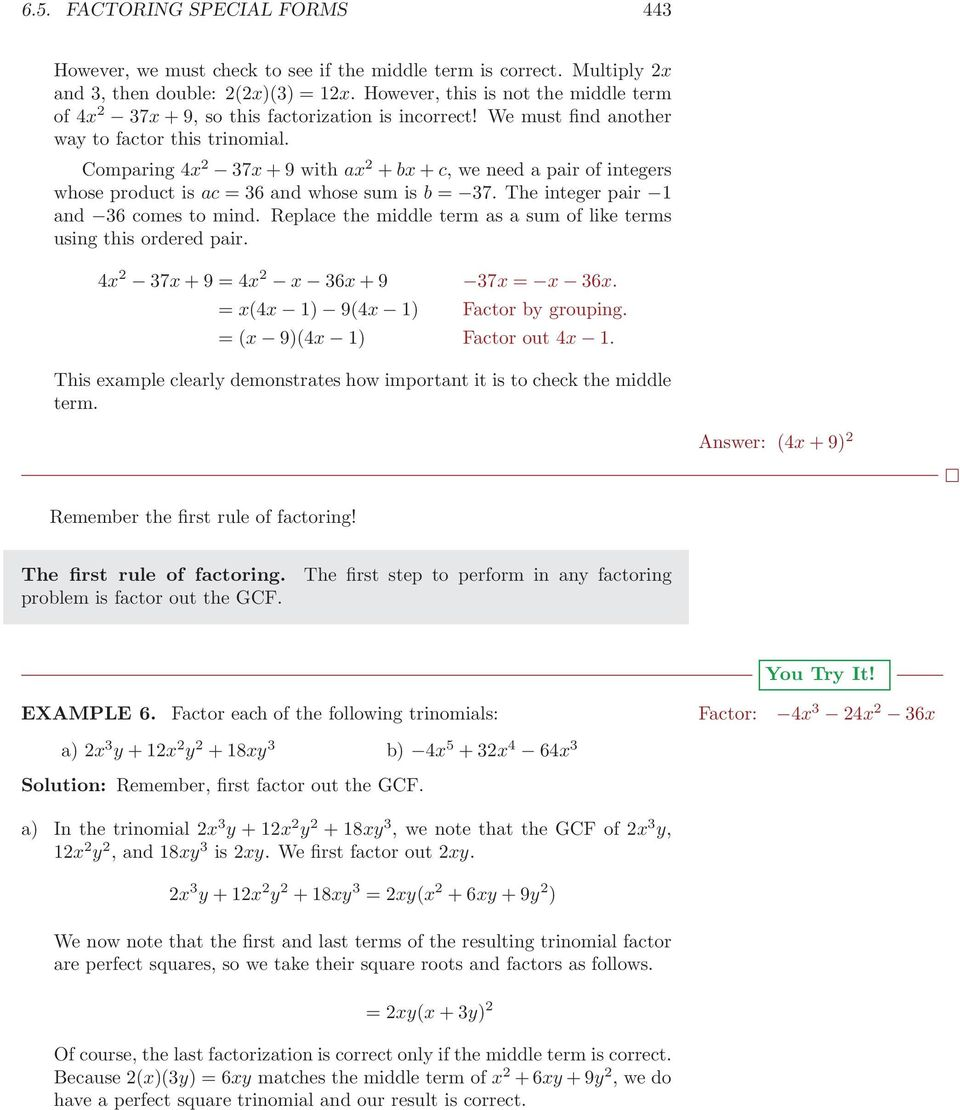 65 Factoring Special Forms PDF – Factoring Trinomials of the Form Ax2 Bx C Worksheet Answers