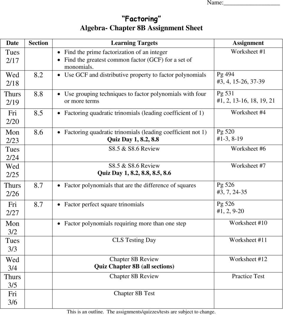 factoring algebra chapter 8b assignment sheet pdf. Black Bedroom Furniture Sets. Home Design Ideas