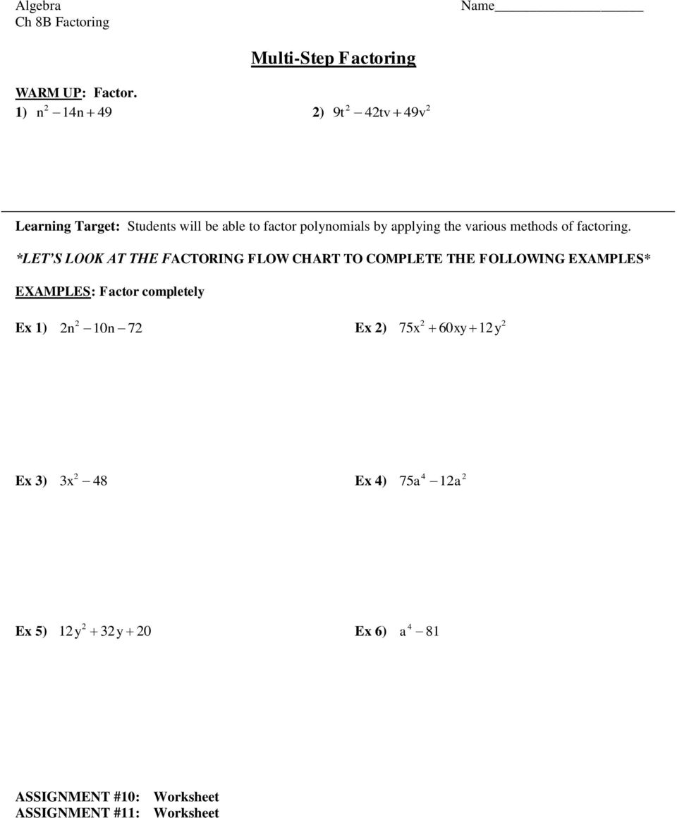 Factoring Algebra Chapter 8B Assignment Sheet PDF – Gcf Factoring Worksheet