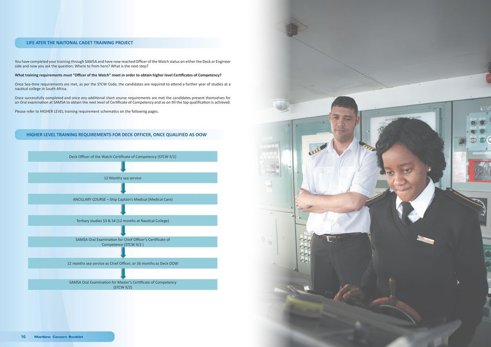 Once Sea-time requirements are met, as per the STCW Code, the candidates are required to attend a further year of studies at a nautical college in South Africa.