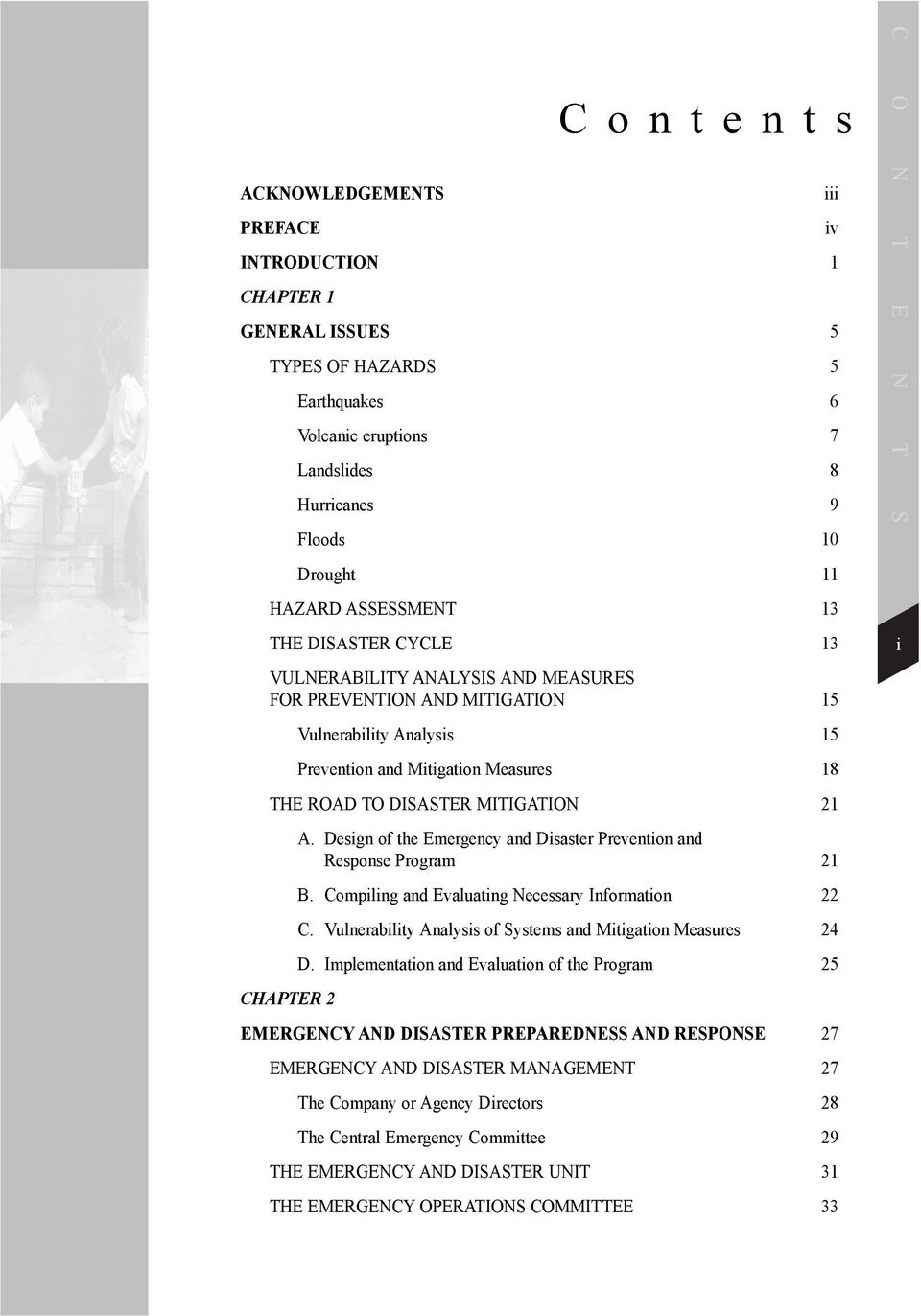 Contents A. Design of the Emergency and Disaster Prevention and Response Program 21 B. Compiling and Evaluating Necessary Information 22 C.