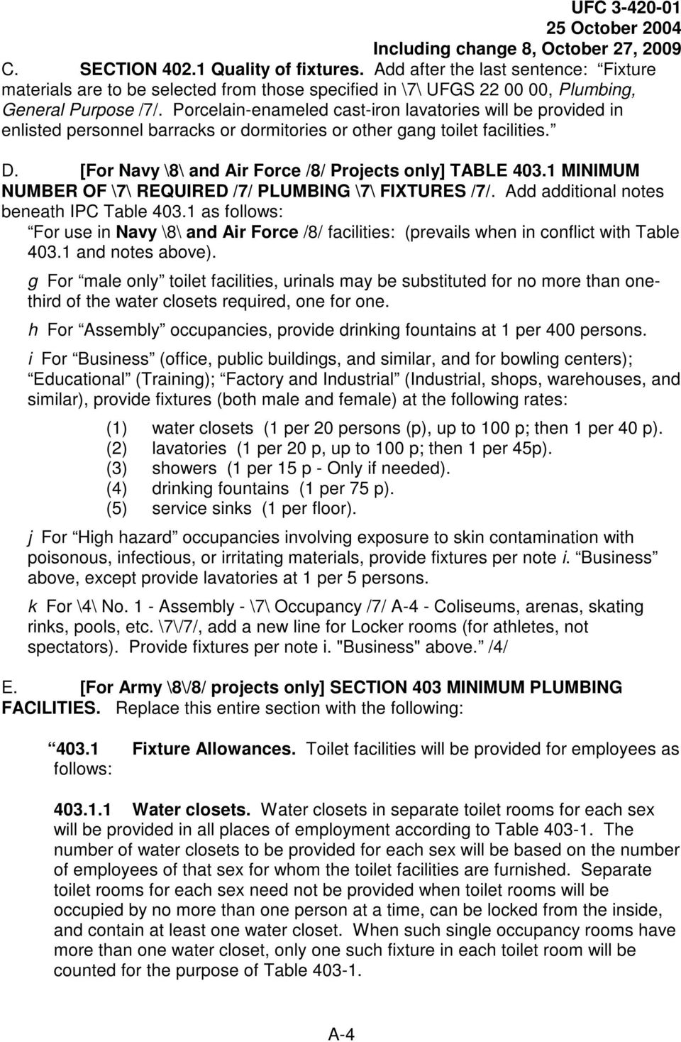 1 MINIMUM NUMBER OF \7\ REQUIRED /7/ PLUMBING \7\ FIXTURES /7/. Add additional notes beneath IPC Table 403.