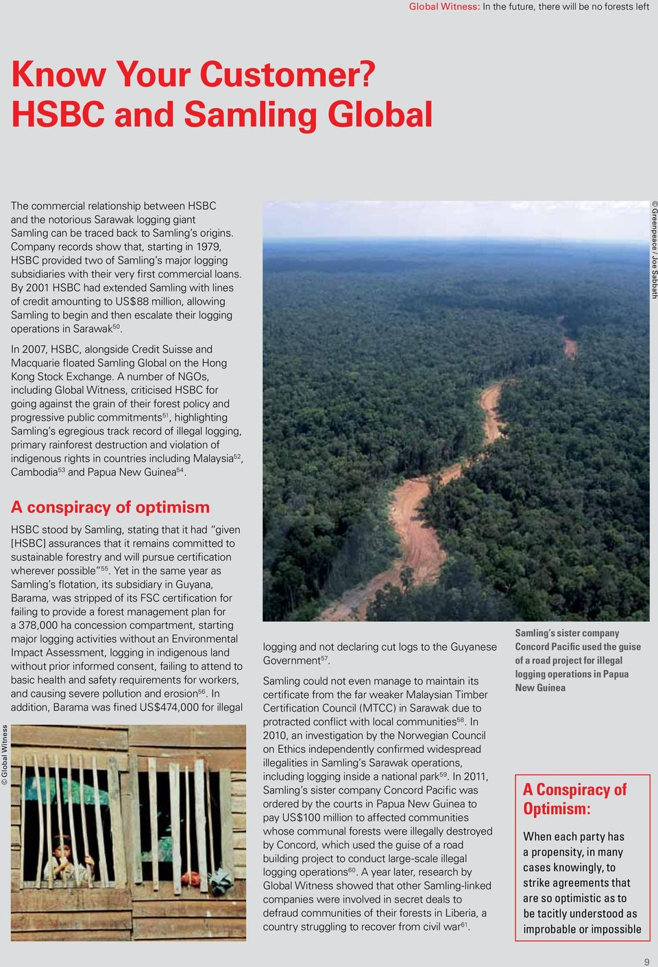 By 2001 HSBC had extended Samling with lines of credit amounting to US$88 million, allowing Samling to begin and then escalate their logging operations in Sarawak 50.