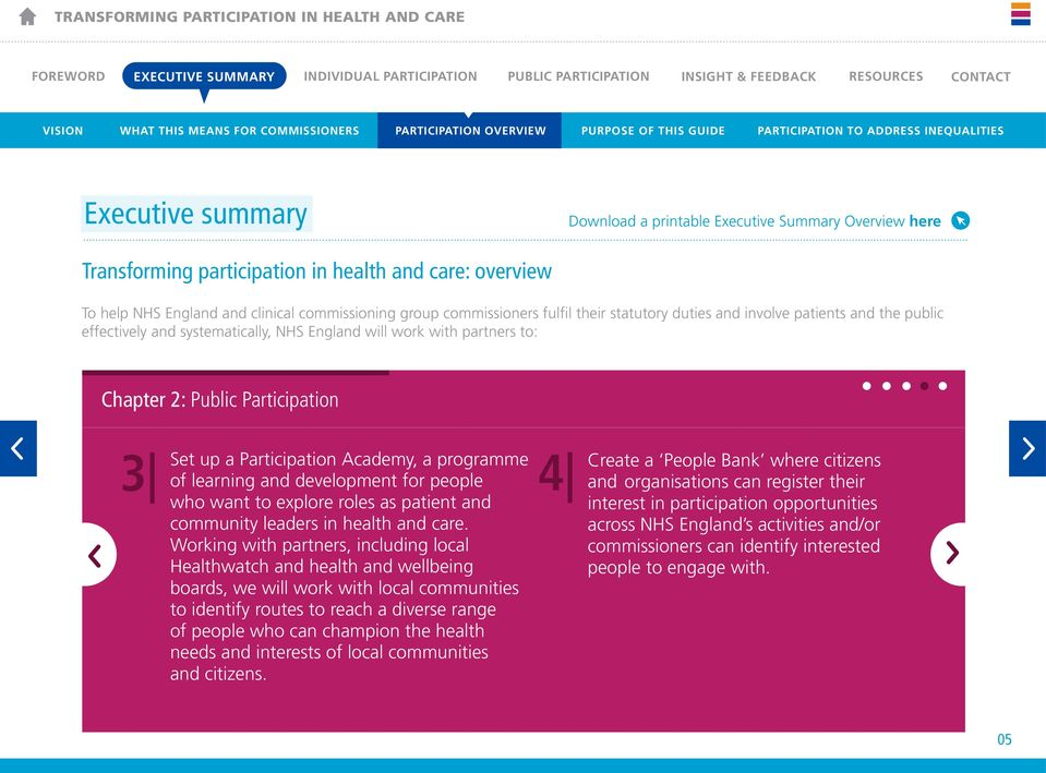 commissioning group commissioners fulfil their statutory duties and involve patients and the public effectively and systematically, NHS England will work with partners to: Chapter 2: Public