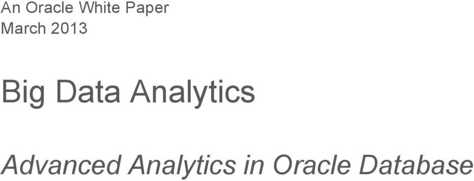 Analytics Advanced