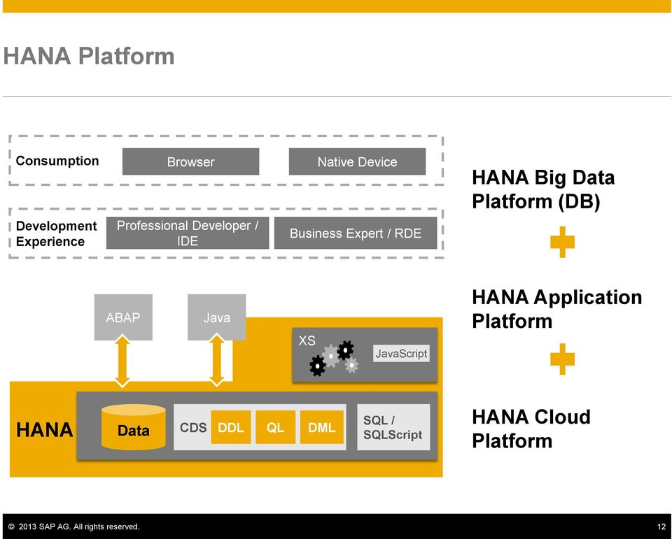 RDE ABAP Java XS JavaScript HANA Application Platform HANA Data CDS DDL QL