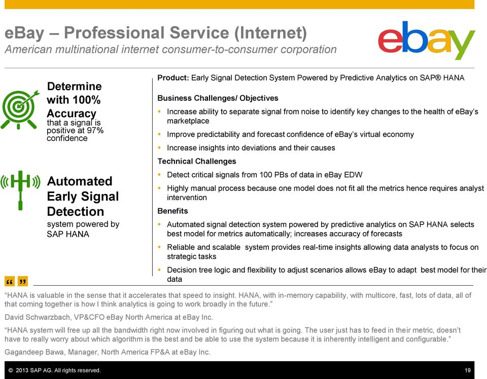 identify key changes to the health of ebay s marketplace Improve predictability and forecast confidence of ebay s virtual economy Increase insights into deviations and their causes Technical