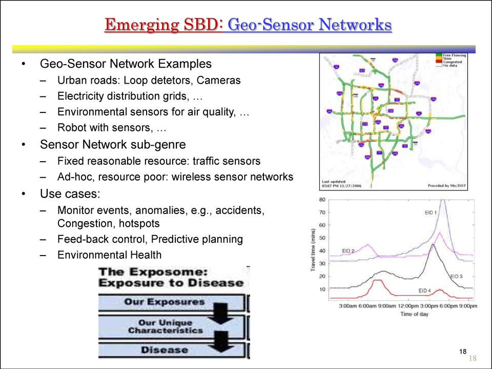 reasonable resource: traffic sensors Ad-hoc, resource poor: wireless sensor networks Use cases: Monitor events,