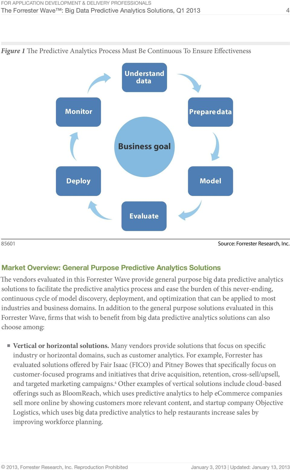 Market Overview: General Purpose Predictive Analytics Solutions The vendors evaluated in this Forrester Wave provide general purpose big data predictive analytics solutions to facilitate the