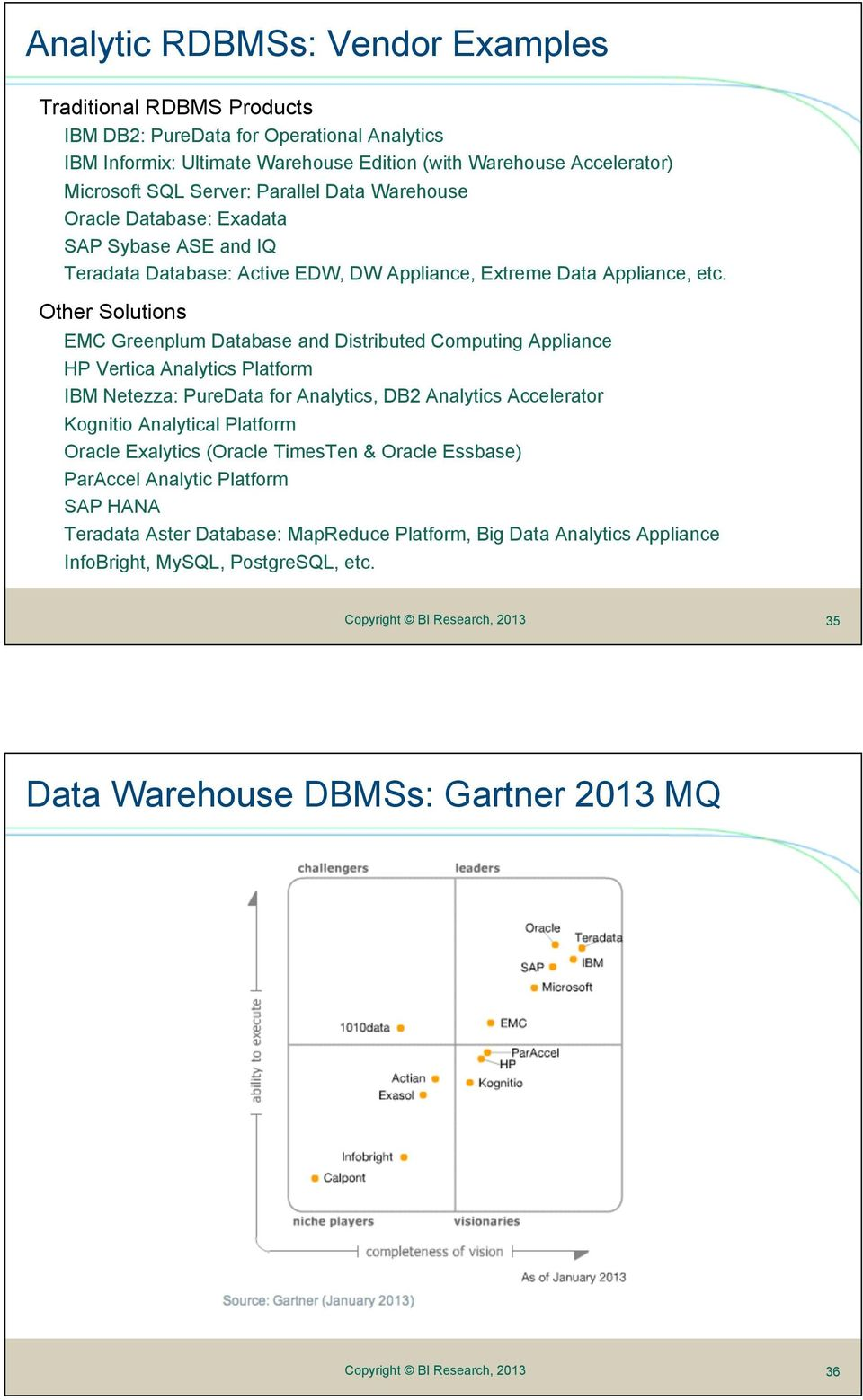 Other Solutions EMC Greenplum Database and Distributed Computing Appliance HP Vertica Analytics Platform IBM Netezza: PureData for Analytics, DB2 Analytics Accelerator Kognitio Analytical