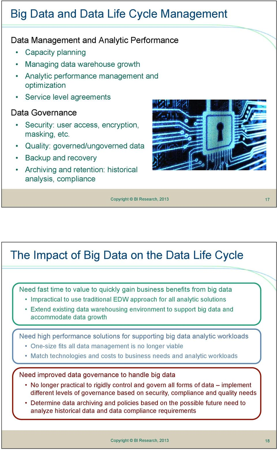 Quality: governed/ungoverned data Backup and recovery Archiving and retention: historical analysis, compliance 17 The Impact of Big Data on the Data Life Cycle Need fast time to value to quickly gain