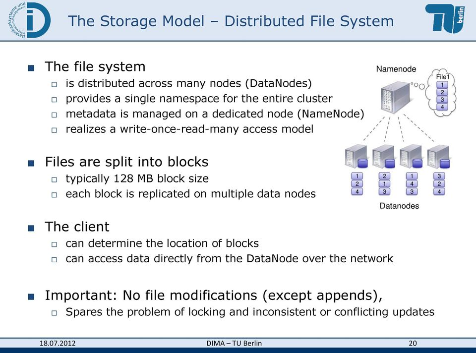 block size each block is replicated on multiple data nodes The client can determine the location of blocks can access data directly from the DataNode
