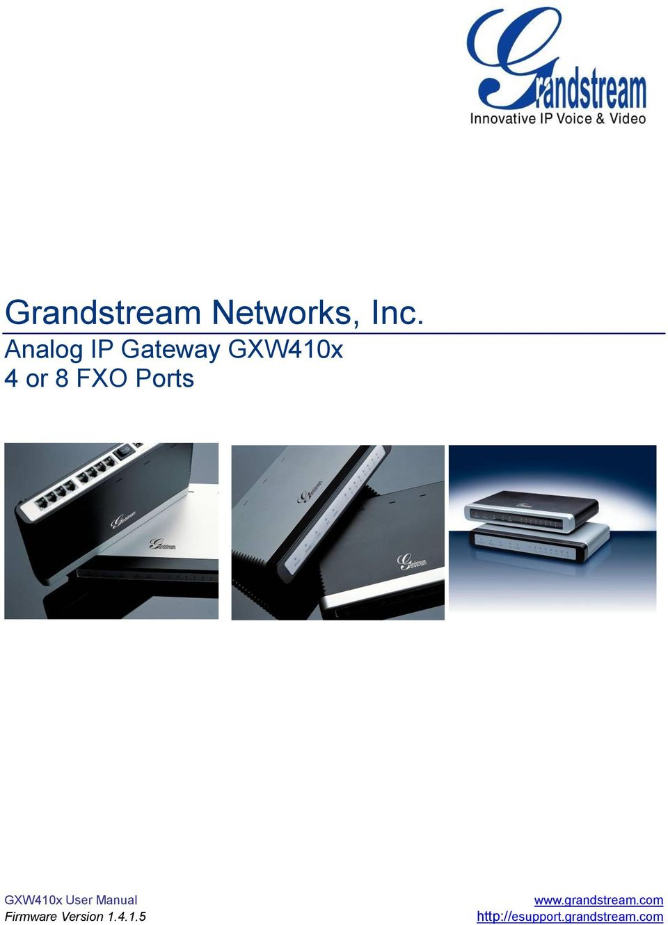 Ports GXW410x User Manual Firmware