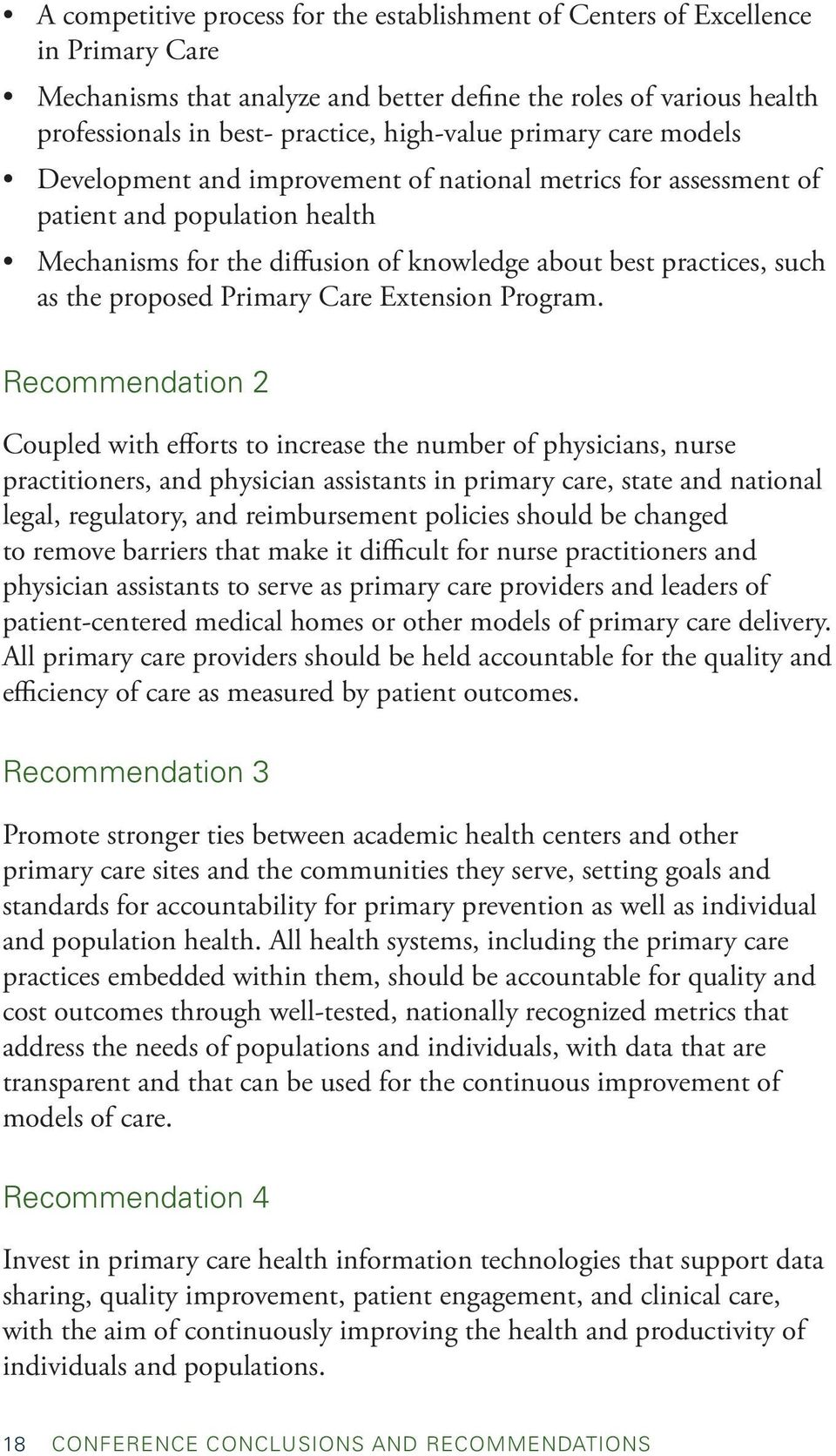 proposed Primary Care Extension Program.