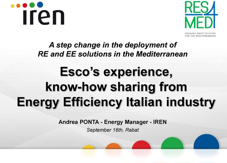 know-how sharing from Energy Efficiency Italian