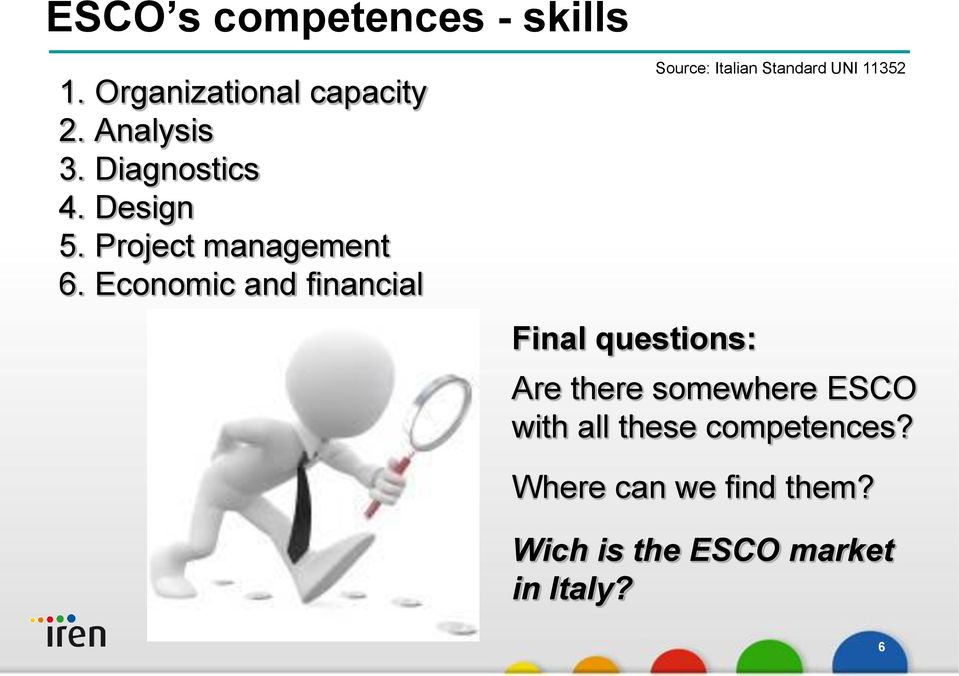 Economic and financial Final questions: Source: Italian Standard UNI 11352