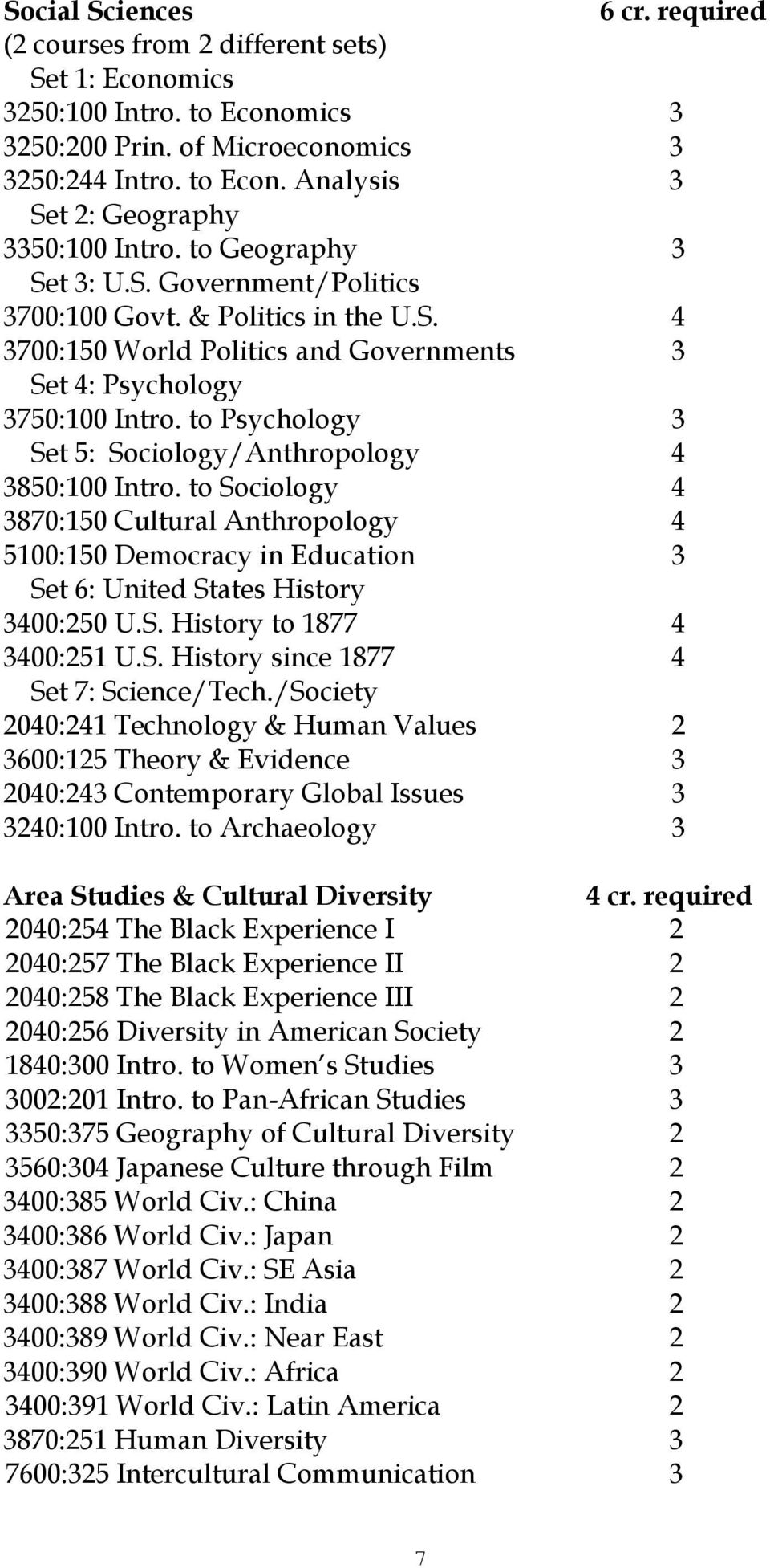 to Psychology 3 Set 5: Sociology/Anthropology 4 3850:100 Intro. to Sociology 4 3870:150 Cultural Anthropology 4 5100:150 Democracy in Education 3 Set 6: United States History 3400:250 U.S. History to 1877 4 3400:251 U.