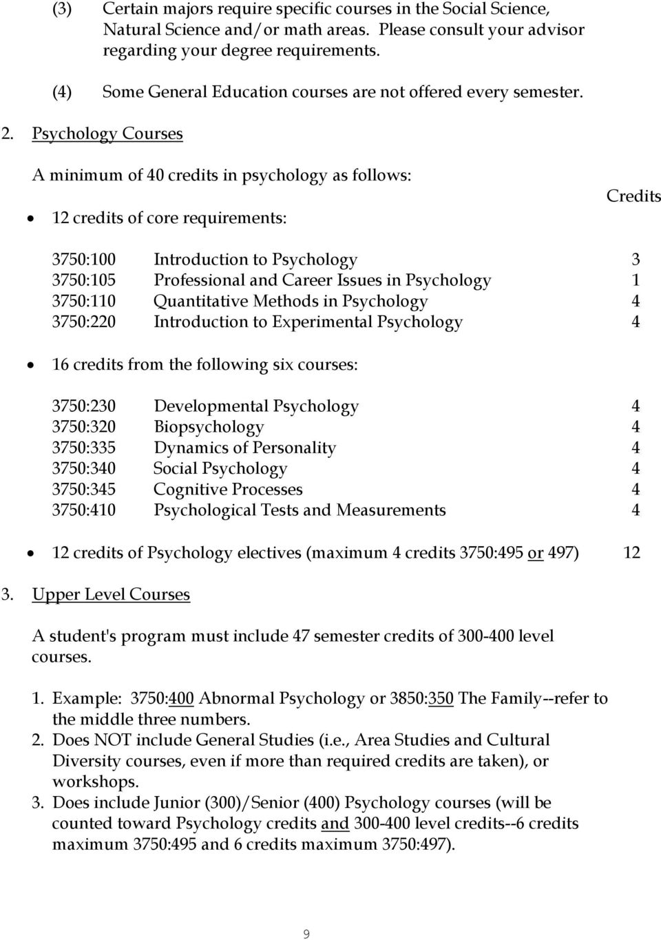 Psychology Courses A minimum of 40 credits in psychology as follows: 12 credits of core requirements: Credits 3750:100 Introduction to Psychology 3 3750:105 Professional and Career Issues in