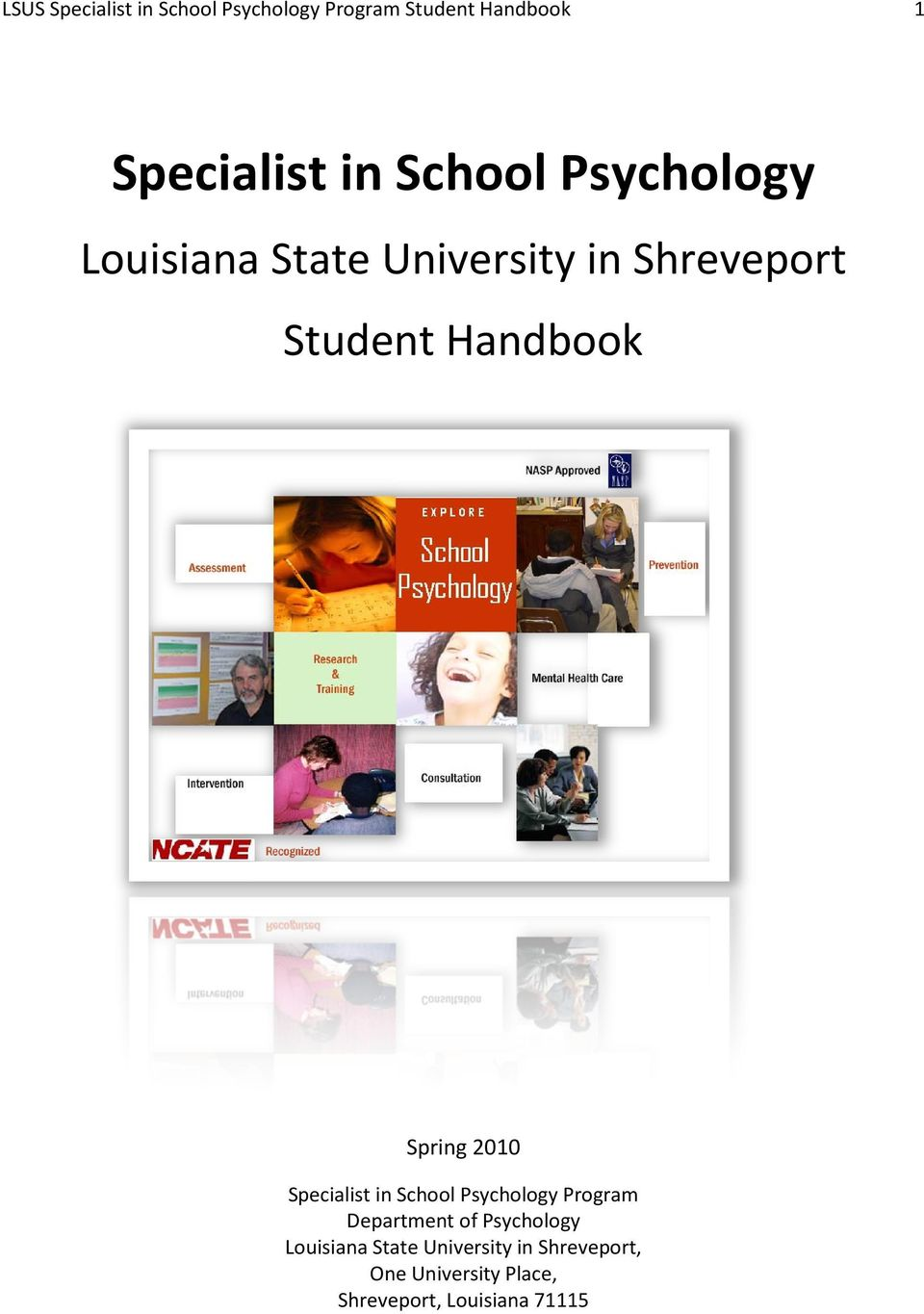Spring 2010 Specialist in School Psychology Program Department of Psychology