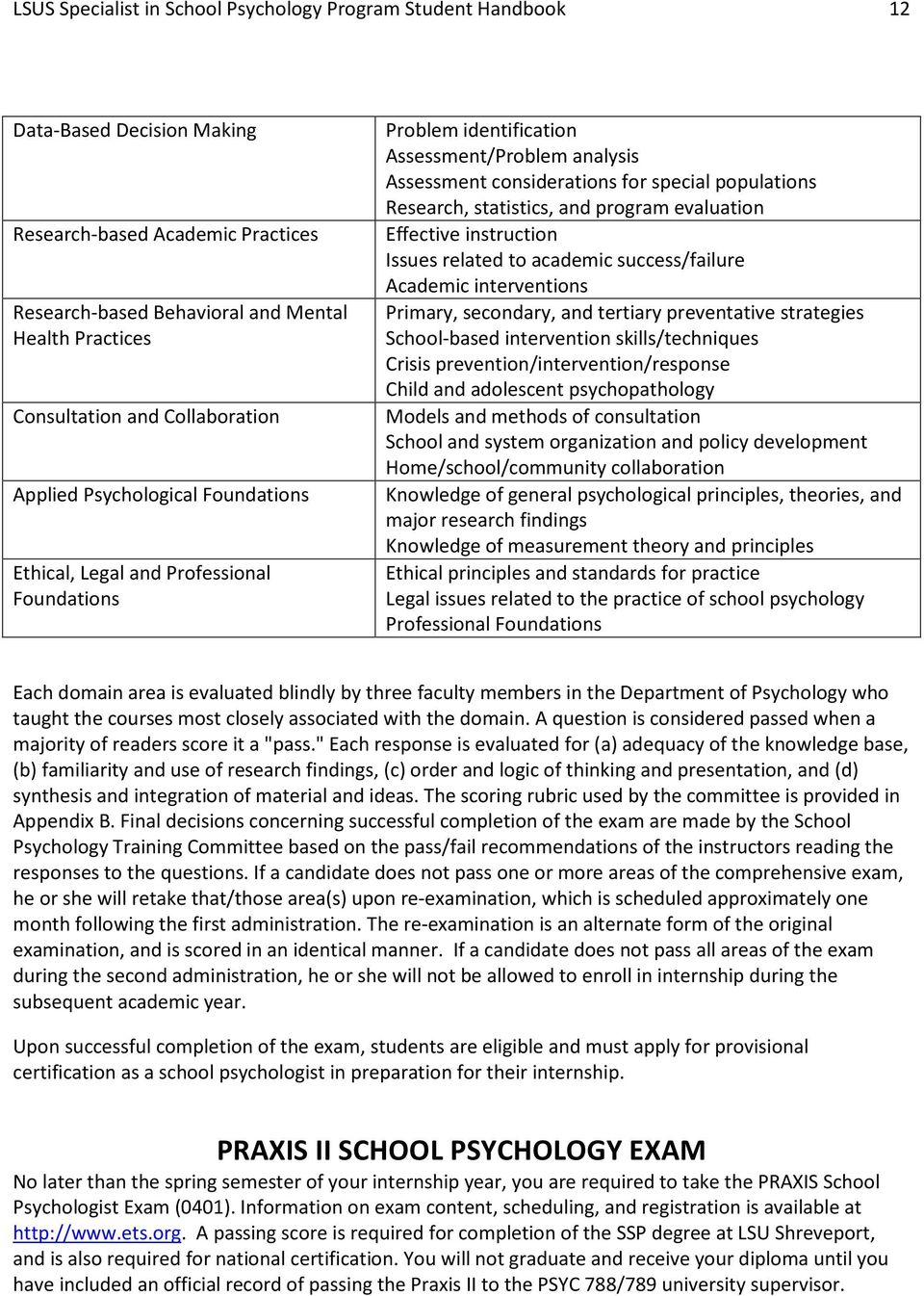 Research, statistics, and program evaluation Effective instruction Issues related to academic success/failure Academic interventions Primary, secondary, and tertiary preventative strategies