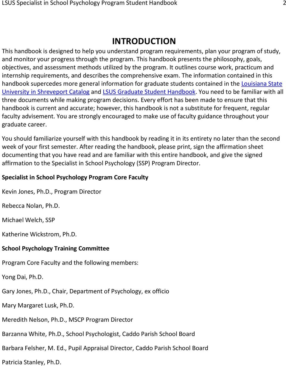 It outlines course work, practicum and internship requirements, and describes the comprehensive exam.