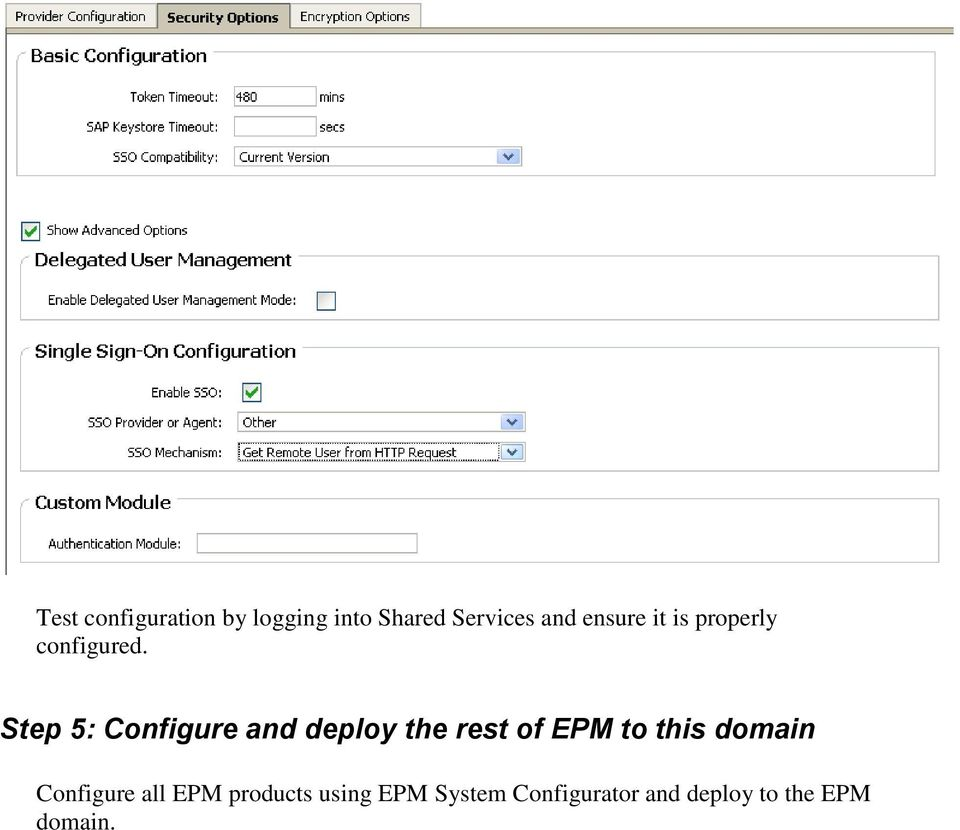 Step 5: Configure and deploy the rest of EPM to this