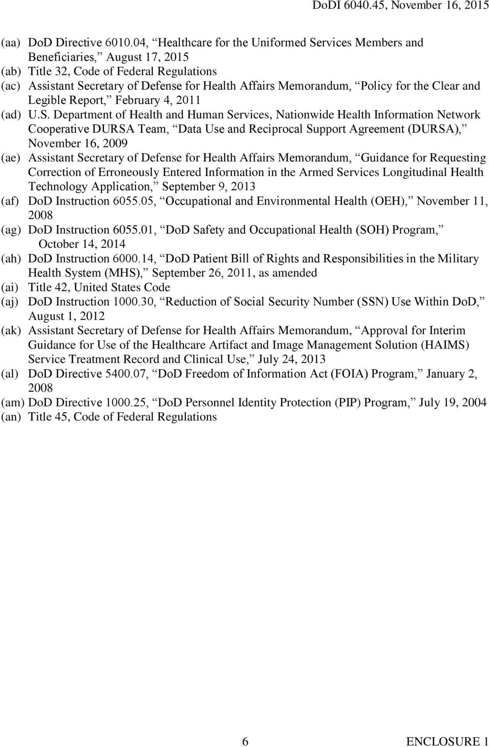 Policy for the Clear and Legible Report, February 4, 2011 (ad) U.S.