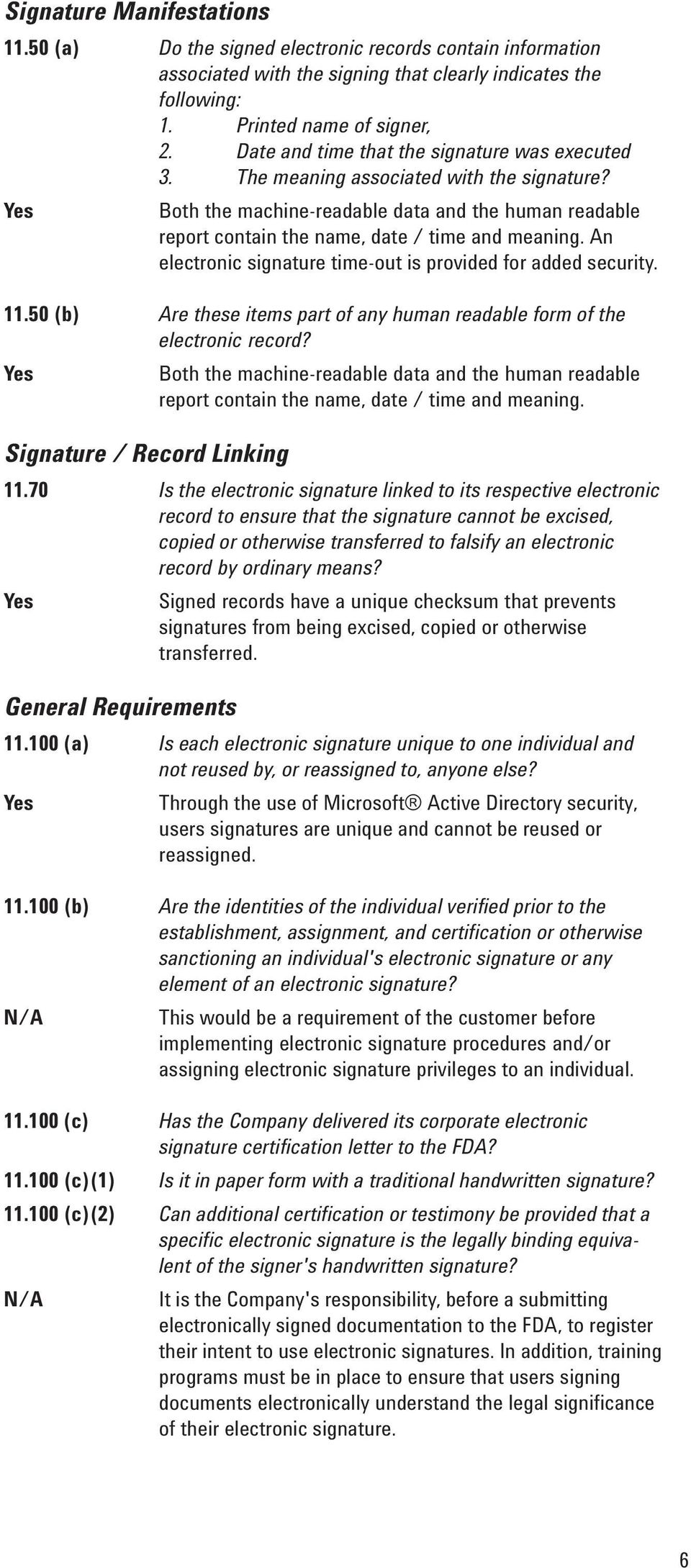 An electronic signature time-out is provided for added security. 11.50 (b) Are these items part of any human readable form of the electronic record?
