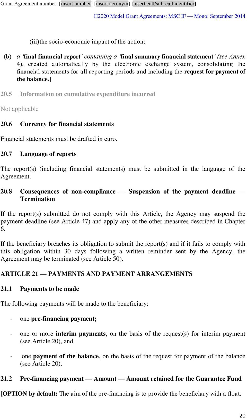 6 Currency for financial statements Financial statements must be drafted in euro. 20.