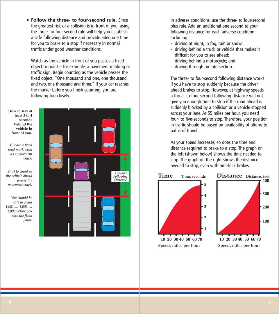 if necessary in normal traffic under good weather conditions. Watch as the vehicle in front of you passes a fixed object or point for example, a pavement marking or traffic sign.