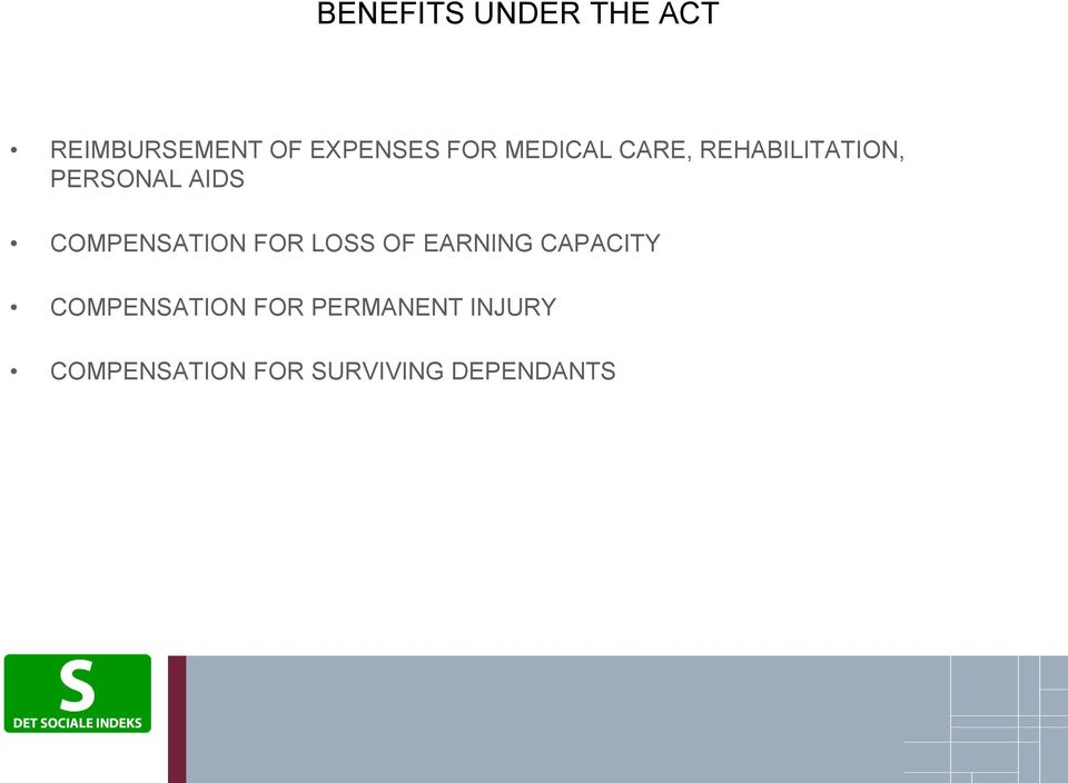 COMPENSATION FOR LOSS OF EARNING CAPACITY